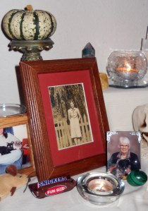 A picture of my grandmother on my altar to the beloved dead.