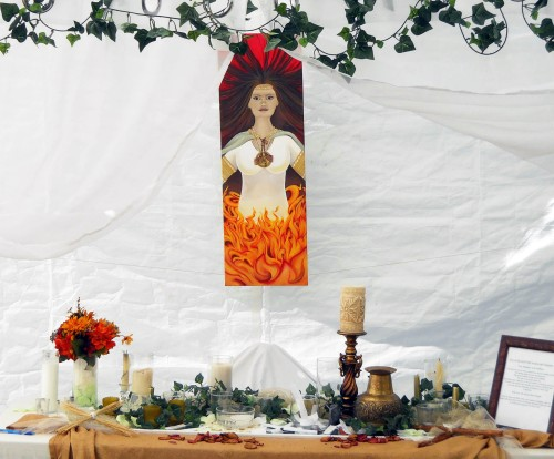 This painting of the Goddess Brigid was the feature of the temple at the Gaia Goddess Gathering in 2013.